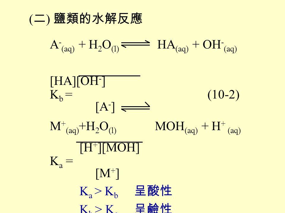 (二) 鹽類的水解反應 A-(aq) + H2O(l) HA(aq) + OH-(aq) [HA][OH-] Kb = (10-2) [A-] M+(aq)+H2O(l) MOH(aq) + H+ (aq)